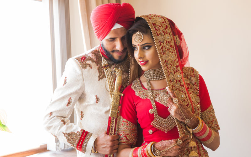 couple at their wedding posing for wedding cinematography leicester company