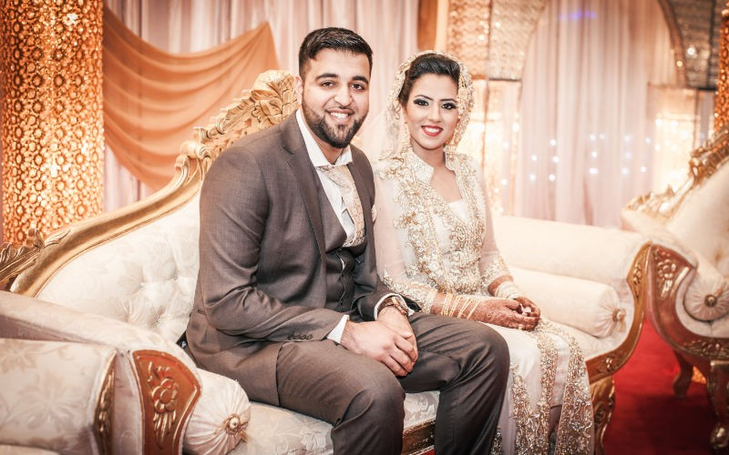 a couple in a wedding photo on their wedding day in west midlands